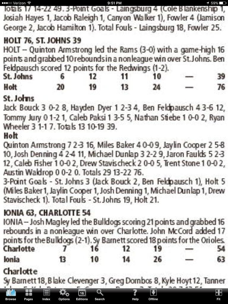 St. Johns @ Holt Boxscore