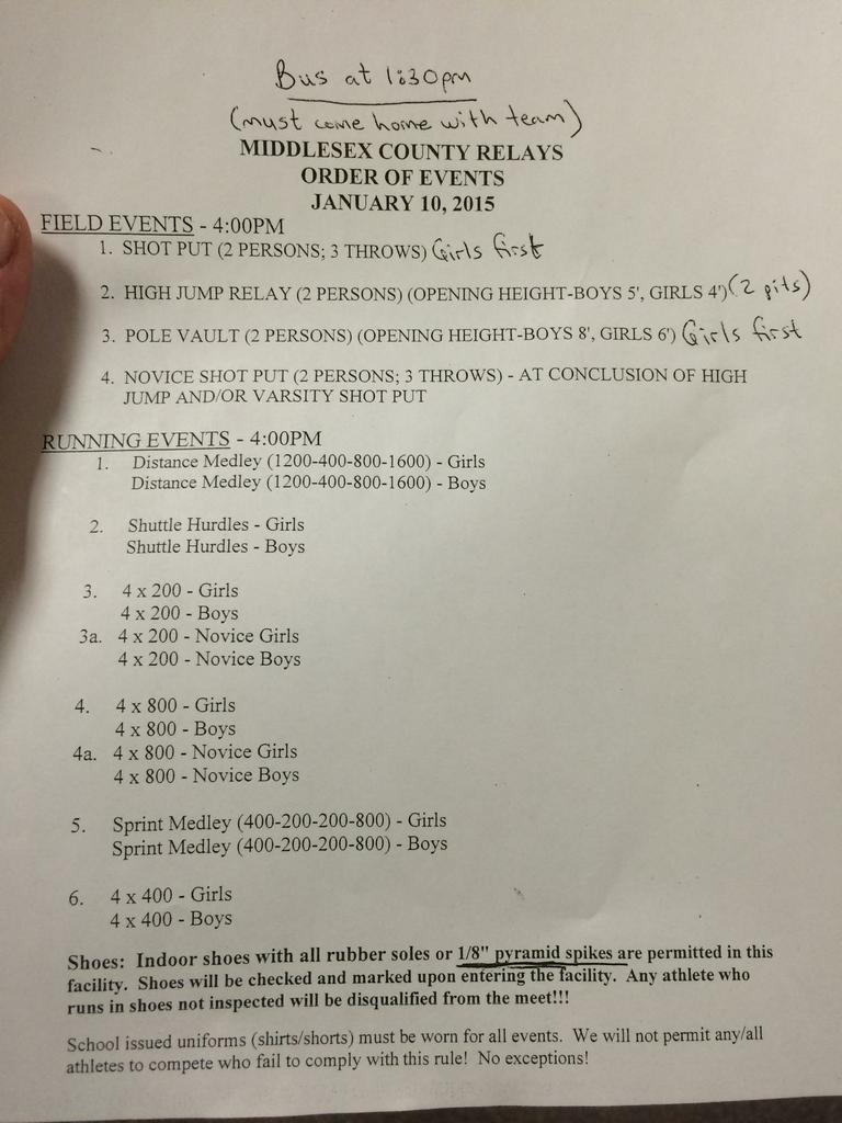 order of events at indoor track meet