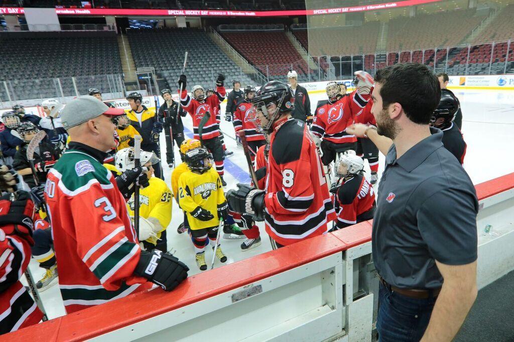Devils  forward Kyle Palmieri addresses the NJ Avalanche and NJ Dare Devils  before the