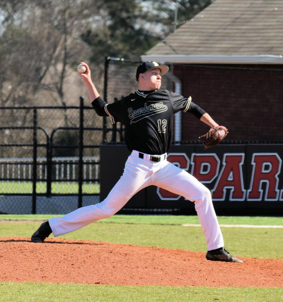 Sparkman senior Seth Gulley pitches to a Helena batter