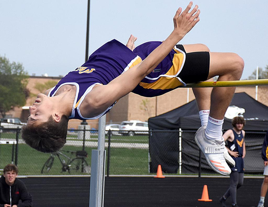 Caledonia senior Chase VanSickle chasing big finish in the high jump at state