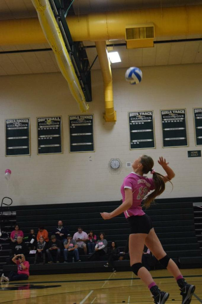 Dani Johnston jump serves one of 8 service points to start the match.