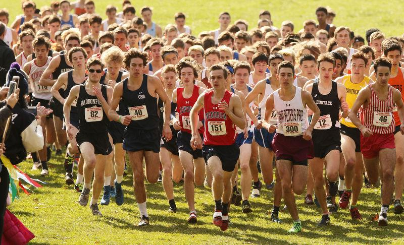 Runners out front, including one from CBA and Mendham, begin the 2018 Meet of Champions. (David Gard | For NJ Advance Media)